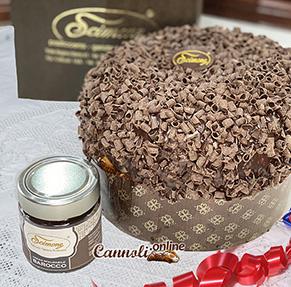 Panettone artigianale con crema al cioccolato fondente